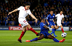 Samir Nasri of Sevilla shoots at goal past Wes Morgan of Leicester City - Mandatory by-line: Robbie Stephenson/JMP - 14/03/2017 - FOOTBALL - King Power Stadium - Leicester, England - Leicester City v Sevilla - UEFA Champions League round of 16, second leg