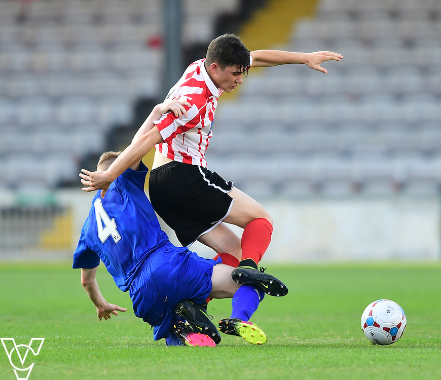 Lincoln City&rsquo;s James Hugo vies for possession with Leicester City&rsquo;s Morgan Brown<br /> <br /> Lincoln City under 18s Vs Leicester City under 18s at Sincil Bank, Lincoln.<br /> <br /> Picture: Chris Vaughan/Chris Vaughan Photography<br /> <br /> Date: July 28, 2016