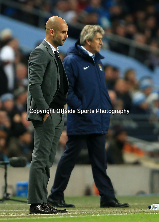25th November 2014 - UEFA Champions League - Group E - Manchester City v Bayern Munich - Bayern coach Josep Guardiola (L) and Man City manager Manuel Pellegrini - Photo: Simon Stacpoole / Offside.