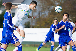 Maks Barisic of Slovenia during football game between Slovenia and Andorra of UEFA Under19 Championship Qualifications, on October 15, 2013 in Bakovci, Slovenia. (Photo by Erik Kavas / Sportida)