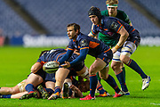 Nic Groom (#9) of Edinburgh Rugby gets a pass away during the Guinness Pro 14 2019_20 match between Edinburgh Rugby and Connacht Rugby at BT Murrayfield Stadium, Edinburgh, Scotland on 21 February 2020.