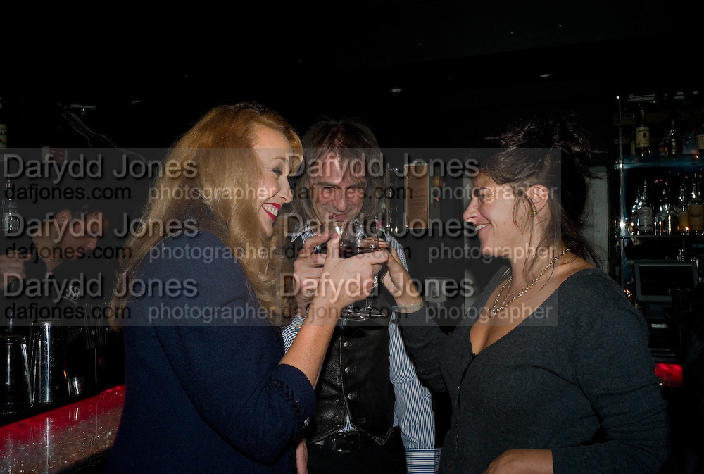 JERRY HALL; IVOR BRAKA; TRACEY EMIN;  Cloak and Dagger, - Amanda Eliasch - book launch - Entertainment by Miss Polly Rae and her Hurly Burly girls. <br />