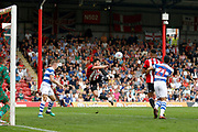 Brentford Defender Yoann Barbet (29) tries an extravagant shot on goal during the EFL Sky Bet Championship match between Brentford and Queens Park Rangers at Griffin Park, London, England on 21 April 2018. Picture by Andy Walter.