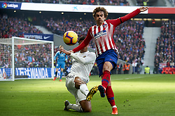 February 9, 2019 - Madrid, Madrid, Spain - Raphael Varane of Real Madrid and Antoine Griezmann of Atletico Madrid battle for the ball during the week 23 of La Liga between Atletico Madrid and Real Madrid at Wanda Metropolitano stadium on February 09 2019, in Madrid, Spain. (Credit Image: © Jose Breton/NurPhoto via ZUMA Press)