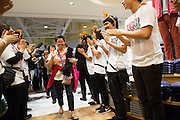 Guests shop during the grand opening of the UNIQLO store at the Great Mall of the Bay Area in Milpitas, California, on October 31, 2014. (Stan Olszewski/SOSKIphoto)