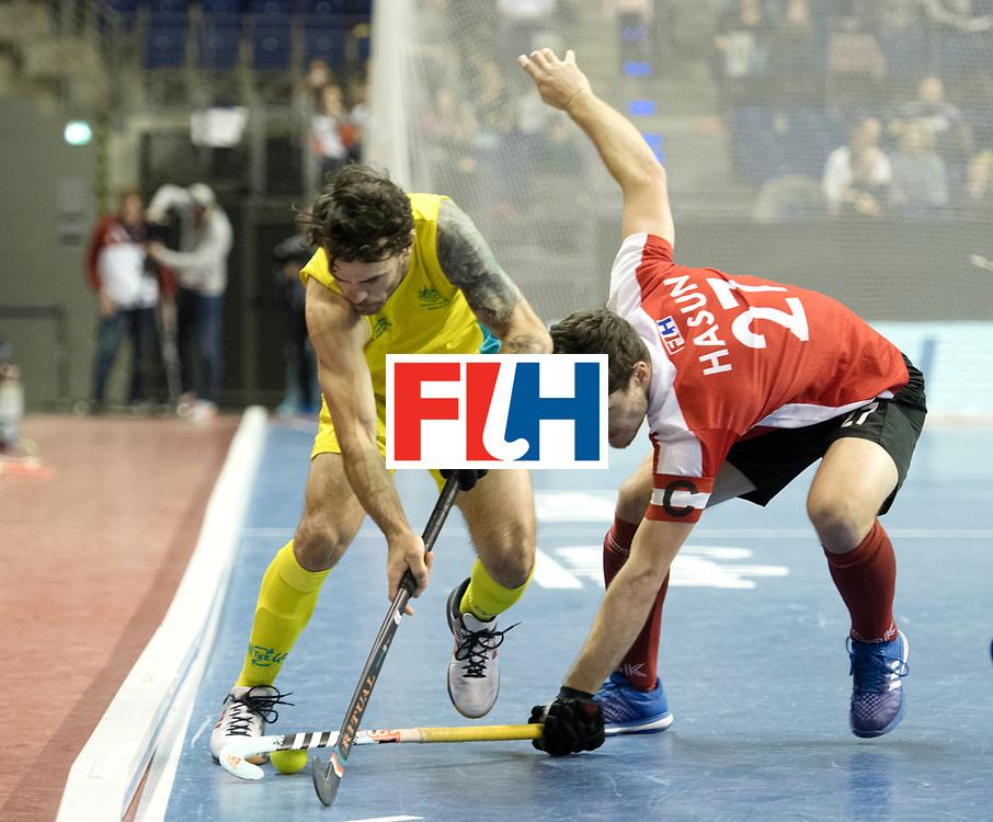 BERLIN - Indoor Hockey World Cup<br /> SF2 Australia - Austria<br /> foto: Xaver Hasun <br /> WORLDSPORTPICS COPYRIGHT FRANK UIJLENBROEK