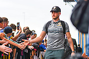Leeds United midfielder Jack Harrison (22) arrives at the ground during the EFL Sky Bet Championship match between Leeds United and Brentford at Elland Road, Leeds, England on 21 August 2019.