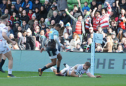 Gloucester's Ruan Ackermann breaks free to score the second try during the Gallagher Premiership match at Twickenham Stoop, London.