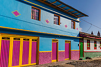 colorful buildings of San Felix near Salamina Caldas in Colombia South America