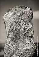 Standing stones and archeology on Isle Of Lewis, Outer Hebridies, Scotland.  Single standing stone portrait.