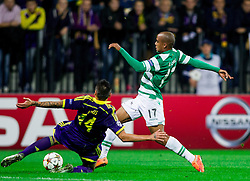 Soares Bordignon Arghus of Maribor vs João Mário of Sporting during football match between NK Maribor and Sporting Lisbon (POR) in Group G of Group Stage of UEFA Champions League 2014/15, on September 17, 2014 in Stadium Ljudski vrt, Maribor, Slovenia. Photo by Vid Ponikvar  / Sportida.com