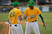 Erial's Cross Sarne and Adam Holland shake hands before the Section 4 Little League final held in Gloucester Sunday night.