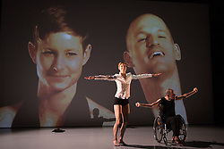 "© Licensed to London News Pictures. 09/10/2015. London, UK. Pictured: Marlieke Burghouts and Nick Bryson performing. Robin Dingemans & Nick Bryson's ""The Point At Which It Last Made Sense"" is performed at the Lilian Baylis Studio at Sadler's Wells on 9 October 2015. Performers: Nick Bryson, Michael Turinsky and Marlieke Burghouts. Photo credit: Bettina Strenske/LNP"