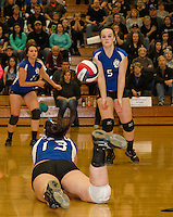 Winnisquam's Bailey Long goes for a dig during NHIAA Division III final with Nute at Plymouth State University Friday evening.  (Karen Bobotas/for the Laconia Daily Sun)