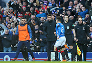 Ryan Jack (#8) of Rangers FC celebrates with Rangers manager Steven Gerrard looking on during the Ladbrokes Scottish Premiership match between Rangers and Celtic at Ibrox, Glasgow, Scotland on 29 December 2018.