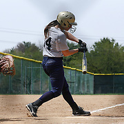Goldey-Beacom outfielder Charlee King (14) attempts to make contact with ball at home plate during a NCAA Central Atlantic Collegiate Conference game between Nyack College and Goldey-Beacom Saturday, April 19, 2014, at Nancy Churchmann Sawin Athletic Field in Wilmington Delaware.<br /> <br /> Goldey-Beacom defeats Nyack College 10-5 in Game 1<br /> <br /> Nyack College defeats Goldey-Beacom 1-0 in Game #2