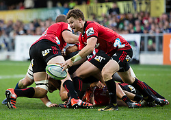 Crusaders' Mitchell Drummond passes the ball against the Highlanders in the Super Rugby match, Forsyth Barr Stadium, Dunedin, New Zealand, Saturday, March 17, 2018. Credit:SNPA / Adam Binns ** NO ARCHIVING**