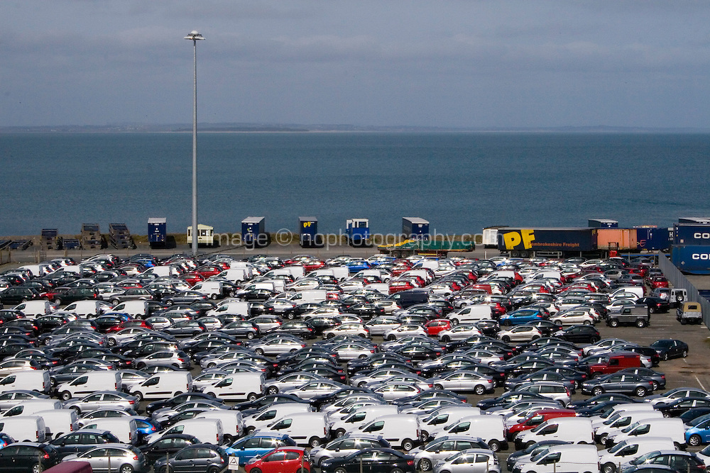 New cars imported in to Ireland parked at Rosslare Harbour County Wexford