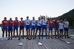 Teams VK Bled, VK Piran 1 and VK Piran 2 in category M4x (Coxed four) during rowing at Slovenian National Championship and farewell of Iztok Cop, on September 22, 2012 at Lake Bled, Ljubljana Slovenia. (Photo By Matic Klansek Velej / Sportida)