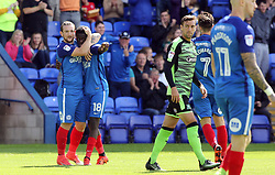 Leonardo Da Silva Lopes of Peterborough United (18) is congratulated by team-mate Jack Marriott after scoring the opening goal of the game - Mandatory by-line: Joe Dent/JMP - 05/08/2017 - FOOTBALL - ABAX Stadium - Peterborough, England - Peterborough United v Plymouth Argyle - Sky Bet League One