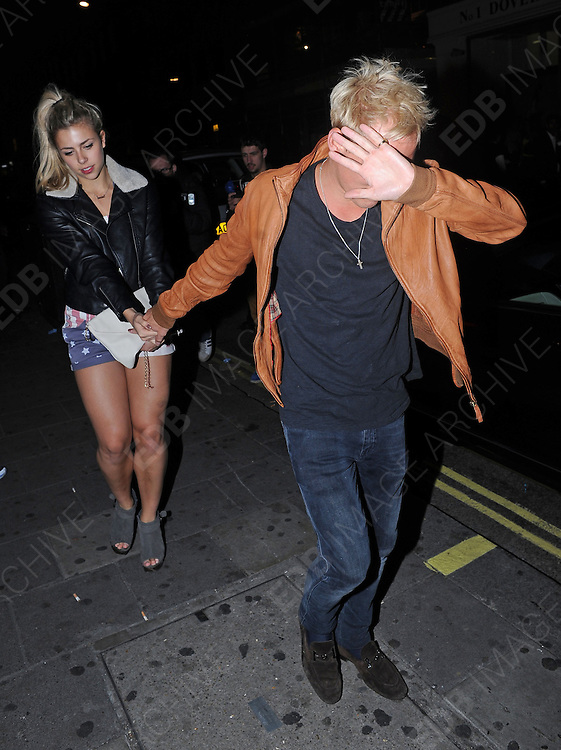 18.SEPTEMBER.2012. LONDON<br /> <br /> JAMIE LANG LEAVE MAHIKI NIGHT CLUB IN MAYFAIR AT 3AM WITH MYSTERY GIRL.<br /> <br /> BYLINE: EDBIMAGEARCHIVE.CO.UK<br /> <br /> *THIS IMAGE IS STRICTLY FOR UK NEWSPAPERS AND MAGAZINES ONLY*<br /> *FOR WORLD WIDE SALES AND WEB USE PLEASE CONTACT EDBIMAGEARCHIVE - 0208 954 5968*
