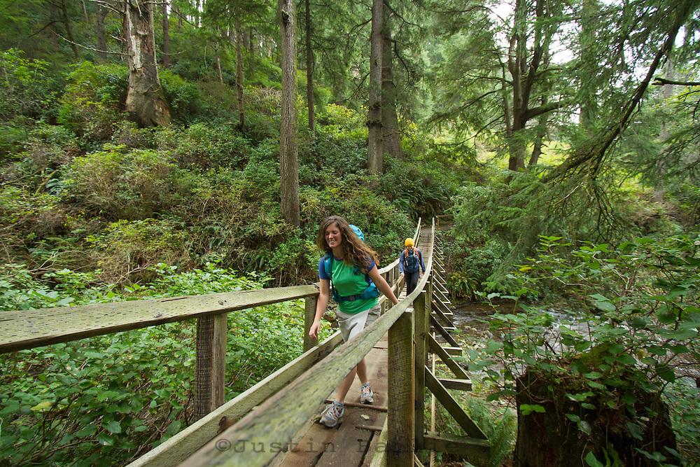 Hiking along the Oregon Coast Trail. Oswald West State Park, OR