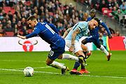 Eden Hazard (10) of Chelsea on the attack gets past Nicolas Otamendi (30) of Manchester City during the Carabao Cup Final match between Chelsea and Manchester City at Wembley Stadium, London, England on 24 February 2019.