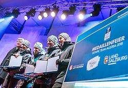 27.02.2018, Salzburg, AUT, PyeongChang 2018, ÖOC Medaillenfeier, im Bild v.l.: Willi Denifl, Lukas Klapfer, Bernhard Gruber, Mario Seidl // during a ÖOC medal celebration Party after the Olympic Winter Games Pyeongchang 2018 in Salzburg, Austria on 2018/02/27. EXPA Pictures © 2018, PhotoCredit: EXPA/ JFK