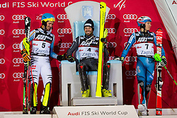 """Felix Neureuther (GER), Manfred Moelgg (ITA) and Henrik Kristoffersen (NOR) during flower ceremony after the FIS Alpine Ski World Cup 2016/17 Men's Slalom race named """"Snow Queen Trophy 2017"""", on January 5, 2017 in Course Crveni Spust at Sljeme hill, Zagreb, Croatia. Photo by Ziga Zupan / Sportida"""