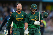 Brendan Taylor and Dan Christian of the Notts Outlaws after reaching 227-3 during the Natwest T20 Blast North Group match between Notts Outlaws v Derbyshire Falcons at Trent Bridge, West Bridgford, United Kingdom on 21 July 2017. Photo by Jon Hobley.