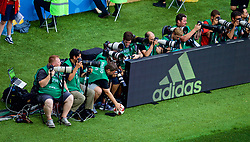 MOSCOW, RUSSIA - Sunday, July 1, 2018: Photographers during the FIFA World Cup Russia 2018 Round of 16 match between Spain and Russia at the Luzhniki Stadium. Carl Recine. (Pic by David Rawcliffe/Propaganda)