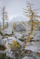 A view looking from the Upper Enchantments toward Prusik Peak and the Temple with inclement weather headed in, Enchantment Lakes Wilderness Area, Washington Cascades, USA.