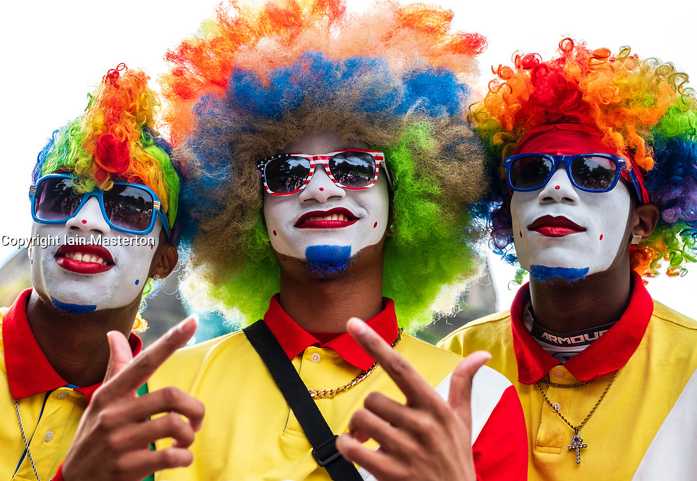 Edinburgh, Scotland, UK; 1 August, 2018. Fresh the Clownsss US internet hip hop dance sensations at opening day of Edinburgh Fringe Festival in Princes Street Gardens during photo call.