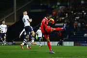 Preston North End Midfielder Alan Browne and Charlton Athletic midfielder Jordan Cousins (8) during the Sky Bet Championship match between Preston North End and Charlton Athletic at Deepdale, Preston, England on 23 February 2016. Photo by Pete Burns.