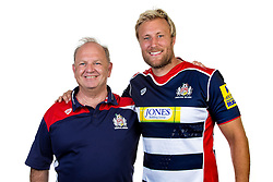 Head of Recruitment Alan Martinovic and his former Colston's School student Jordan Crane of Bristol Rugby - Rogan Thomson/JMP - 22/08/2016 - RUGBY UNION - Clifton Rugby Club - Bristol, England - Bristol Rugby Media Day 2016/17.