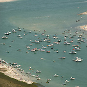 Aerial images of boats near Masonboro island, NC. Every fourth of July, party-goers bring a fleet of bats to the area for a celebration.