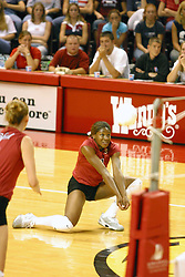 Stanford's Ogonna NNamani digs the ball during volley. The game and set was won by Stanford.  The match up took place at ISU's Redbird Arena in Normal Illinois on September 11, 2002.  The crowd was over 5600 and took the record for fans attending a volleyball game at Redbird, the MVC's record for number of fans watching a conference team and was the largest audience in the continental US thus far in the 2002 season<br />