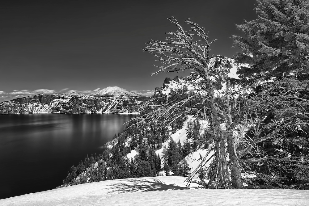 Crater Lake South Rim Overlook Towards Mt. Scott - HDR - Black & White
