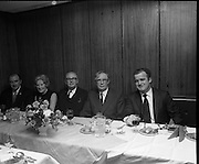 Friendly Sons of the Shillelagh Dinner..1971.17.03.1971..03.17.1971..17th March 1971..In conjunction with Irish Tourism, and to celebrate St Patrick's Day,the Friendly Sons of the Shillelagh held their annual dinner in Dublin tonight.The Friendly Sons of the Shillelagh is an Irish-American fraternal organization founded in 1964 by Jack Dunphy and Harry Knox from Old Bridge, New Jersey. .Pictured at the dinner were (L-R).Mr Bat Dougherty, President,Friendly Sons of the Shillelagh,Mrs John Purcell, Mr John Purcell, Mr T.F.O'Higgins TD and Mr John l Sullivan.