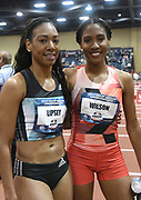Mar 5, 2017; Albuquerque, NM, USA; Training partners Charlene Lipsey (left) and Ajee Wilson pose during the USA Indoor Championships at the Albuquerque Convention Center.