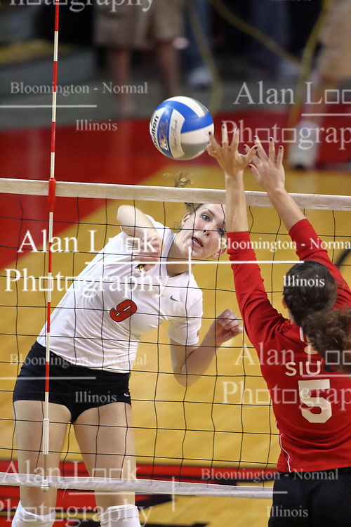 15 SEP 2009: Katie Culbertson strikes the ball towards Brooke Smith. The Redbirds of Illinois State defeated the Cougars of Southern Illinois Edwardsville in 3 sets during play in the Redbird Classic on Doug Collins Court inside Redbird Arena in Normal Illinois