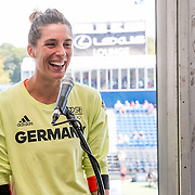 August 24, 2016, New Haven, Connecticut: <br /> Andrea Petkovic of Germany speaks at the Mayor's Women's Legislators Luncheon during Day 6 of the 2016 Connecticut Open at the Yale University Tennis Center on Wednesday, August  24, 2016 in New Haven, Connecticut. <br /> (Photo by Billie Weiss/Connecticut Open)