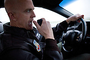 Major Doug McMahon drives a chase car and advises a U2 pilot as he takes off at Beale Air Force Base February 23, 2010 in Linda, Calif.