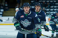 KELOWNA, CANADA - APRIL 25: Matthew Wedman #21 of the Seattle Thunderbirds warms up against the Kelowna Rockets on April 25, 2017 at Prospera Place in Kelowna, British Columbia, Canada.  (Photo by Marissa Baecker/Shoot the Breeze)  *** Local Caption ***