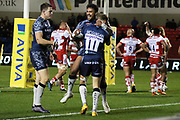 B McGuigan congratulated during the Aviva Premiership match between Sale Sharks and Gloucester Rugby at the AJ Bell Stadium, Eccles, United Kingdom on 29 September 2017. Photo by George Franks.