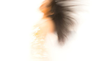 Woman in motion, hair flying