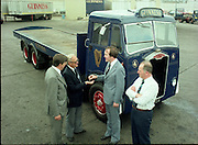 "Handover of Old Guinness Truck.   (M83)..1979..24.07.1979..07.24.1979..24th July 1979..The Albion Truck registration number RLV 154 was officially handed over to the Howth, National Transport Museum today. The vehicle was found in a scrap yard and purchased by the museum. History checking on the vehicle found that it had been part of the Guinness fleet both in Ireland and England. On hearing about the truck Guinness came on board and helped restore the vehicle to its former glory. An  eight wheeler of model type HD57 it is classed as a very rare model. The truck is powered by a six cylinder 'Whispering Giant' engine..Albion were a commercial vehicle builder based in Scotland..To see this and many other rare vehicles The museum is located in the Heritage Depot, Howth Demesne, Howth, Ireland. 60 vehicles are currently in Howth on display. .Image shows the official handover of the ""Albion"" by Guinness to the National Transport Museum."