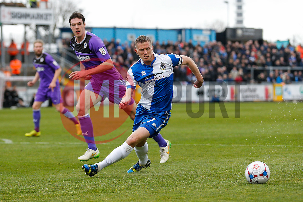 Lee Mansell of Bristol Rovers in action - Photo mandatory by-line: Rogan Thomson/JMP - 07966 386802 - 03/04/2015 - SPORT - FOOTBALL - Bristol, England - Memorial Stadium - Bristol Rovers v Chester - Vanarama Conference Premier.