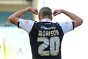 Steve Morrison strikes a pose during the Sky Bet League 1 match between Millwall and Rochdale at The Den, London, England on 26 September 2015. Photo by Michael Hulf.