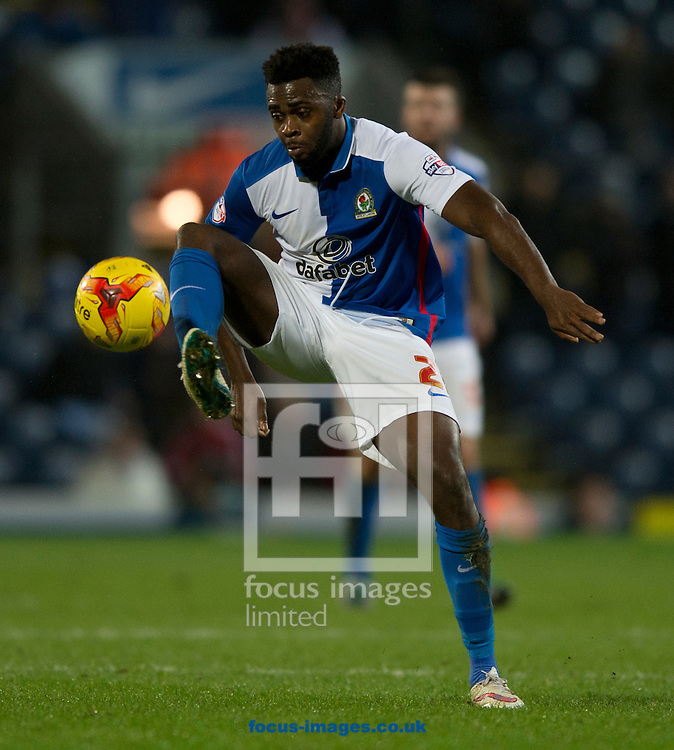 Hope Akpan of Blackburn Rovers brings the ball under control during the Sky Bet Championship match at Ewood Park, Blackburn<br /> Picture by Russell Hart/Focus Images Ltd 07791 688 420<br /> 14/12/2015